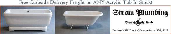 Free Shipping On ALL Acrylic Bath Tubs from Strom Plumbing